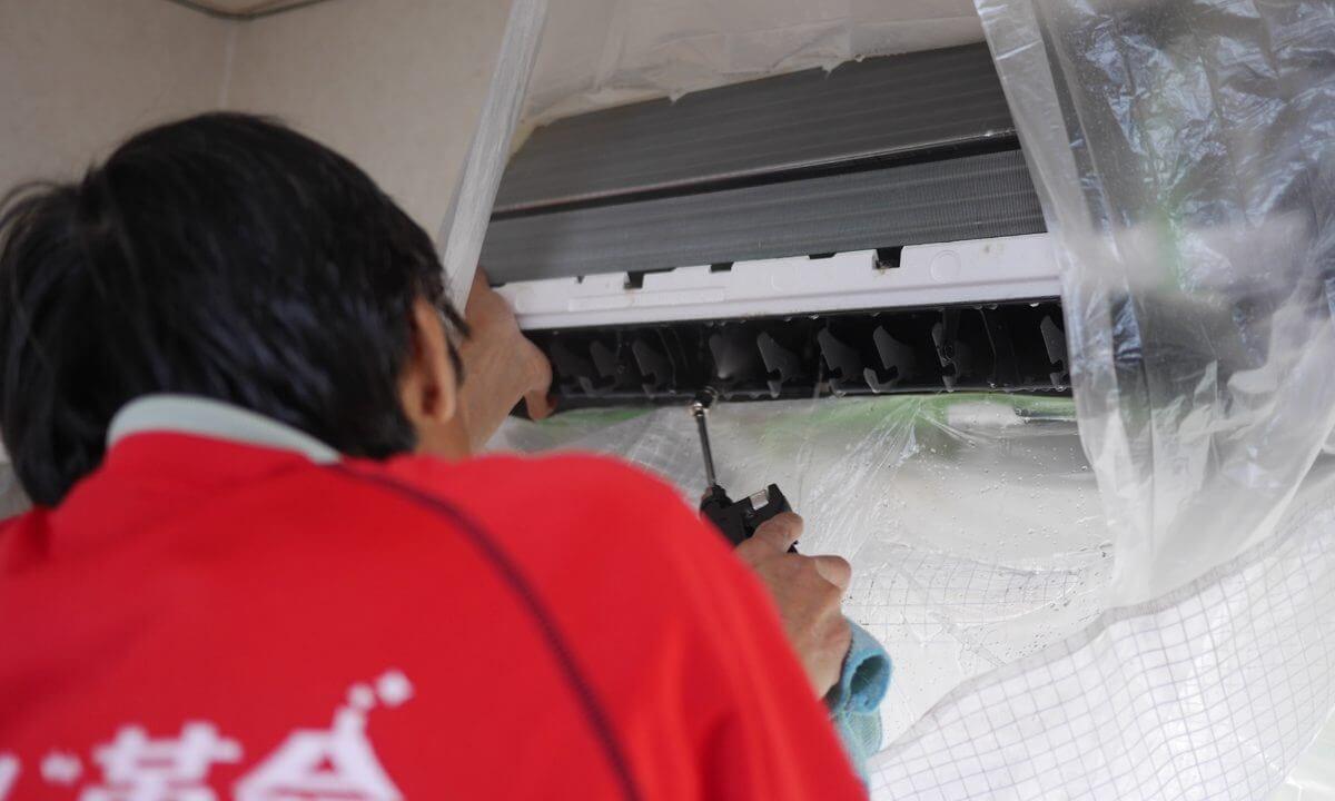 エアコンクリーニングで高圧洗浄