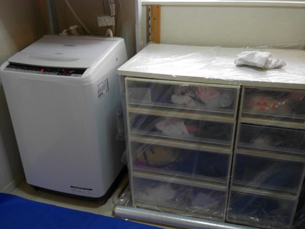 おそうじ本舗の洗濯槽クリーニング 養生
