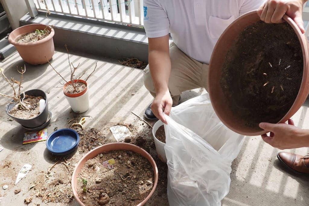 ベアーズ リセットプロ体験 ベランダ植木の土処分