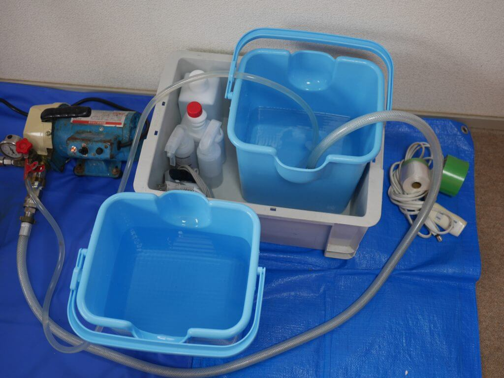 エアコンクリーニングの洗浄用の水