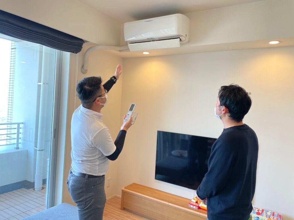 エアコンクリーニング後、感想の為に暖房を付ける