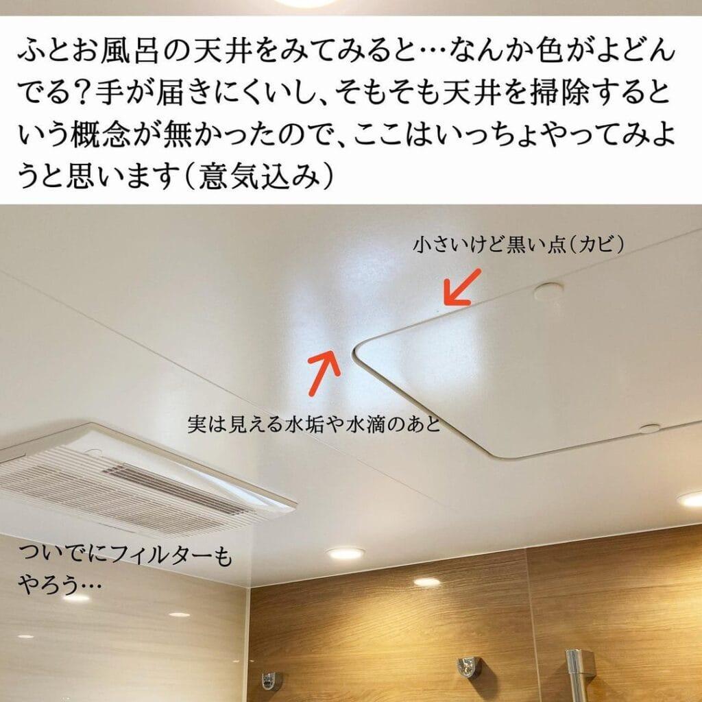 お風呂天井の水垢汚れや黒い点(カビ)